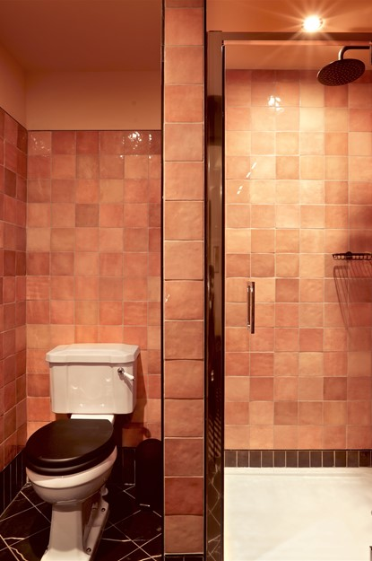 Pink bathroom with pink tiles