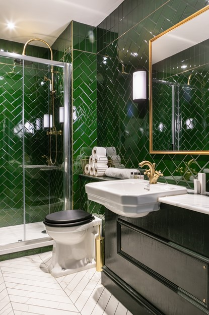 Green bathroom at The Bedford