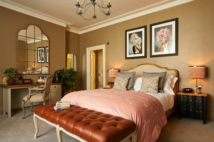 Luxurious bedroom at a hotel in bath with great interior design