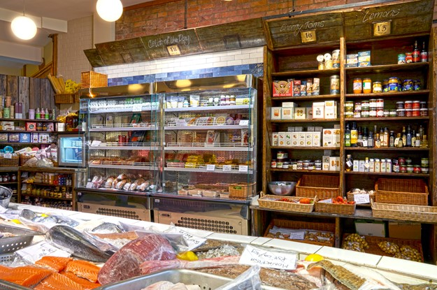 display shelving and fridges in a deli